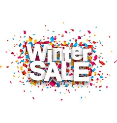 Winter sale paper sign over confetti vector
