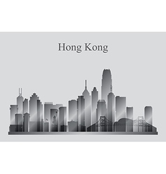 Hong kong city skyline silhouette in grayscale vector