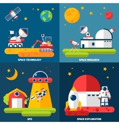 Space exploration 4 flat icons square vector