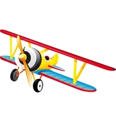 Bright retro biplane vector
