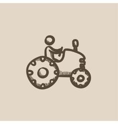 Man driving tractor sketch icon vector