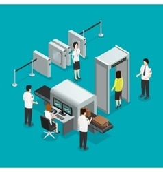 Airport security check isometric composition vector