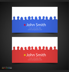 business card with people silhouette vector image