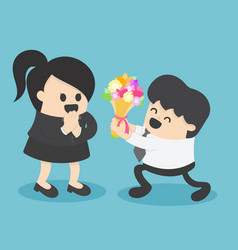 businessman giving flower to businesswoman vector image