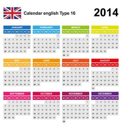 Calendar 2014 English Type 16 vector image