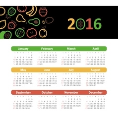Calendar for 2016 with fruit week starts sunday vector