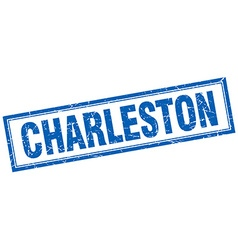 Charleston blue square grunge stamp on white vector