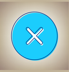 Cross sign sky blue icon vector