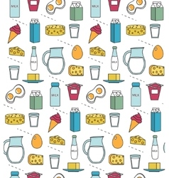 Dairy product seamless pattern Modern line vector image vector image