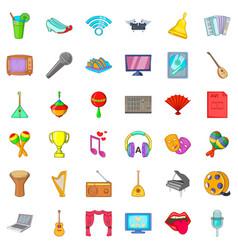 Decibels icons set cartoon style vector