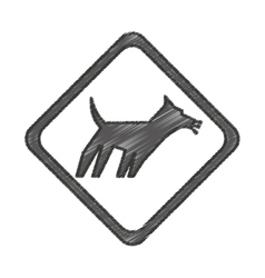Dog signal traffic isolated icon vector
