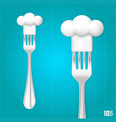 Fork with chef hat vector