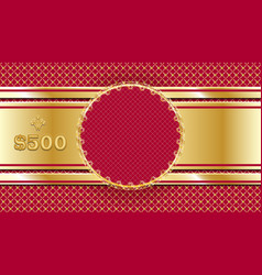 Gift voucher in gold and red template design vector