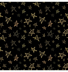 Golden hand-drawn stars on night sky seamless vector image vector image
