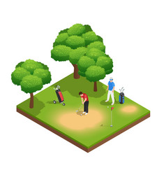 Golf isometric top view composition vector