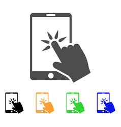 hand click smartphone icon vector image vector image