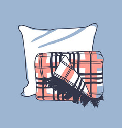 hand drawn pillow and plaid creative vector image vector image