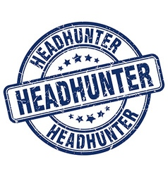 Headhunter blue grunge round vintage rubber stamp vector