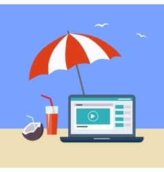 Home office on the beach vector