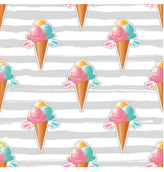 ice cream pattern trendy striped background 80s vector image vector image