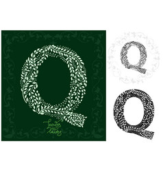 leaves alphabet letter q vector image vector image