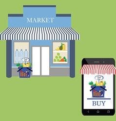 Market shop facade vector image