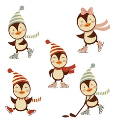 Penguins ice skating vector