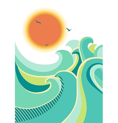 Retro nature seascape poster background isolated vector image