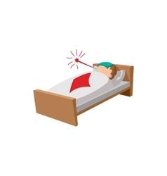 Sick man in the bed cartoon icon vector