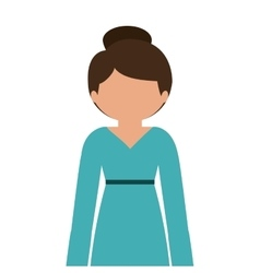Silhouette half body woman in dress without face vector