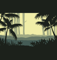 Silhouette of jungle with tree scenery vector
