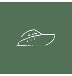 Speedboat icon drawn in chalk vector