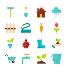 Spring Garden Flat Objects Set isolated over White vector image