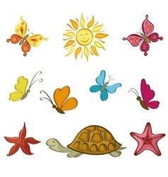 Sun Butterflies Turtle and Starfish vector image vector image