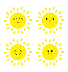 Sun shining icon set kawaii face with different vector