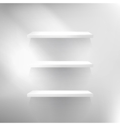 Three white empty shelves vector