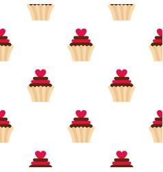 Valentine cupcake pattern seamless vector