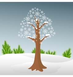 Winter tree in snow vector image vector image