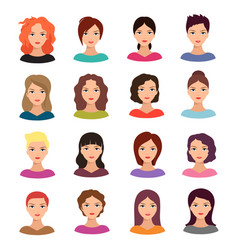woman with different hairstyle beautiful young vector image vector image