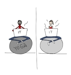 Yoga at work people with laptop for your design vector image