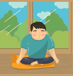 young man doing yoga in lotus position peaceful vector image