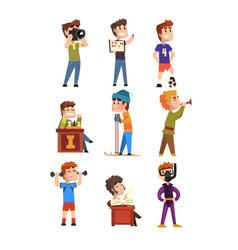 Young teenagers hobby set cartoon kids characters vector