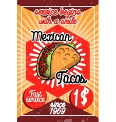Color vintage mexican food poster vector image