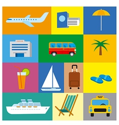 Icons of tropical travel concept sea and ocean vector