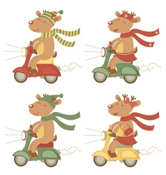 Scootering deers set vector
