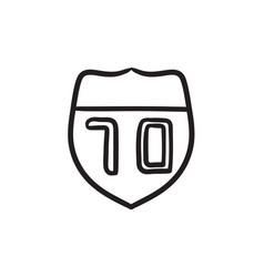 Route road sign sketch icon vector