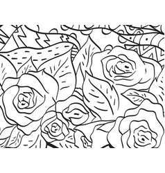 Pattern flower rose coloring for adults vector