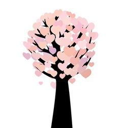 Abstract hearts tree vector image