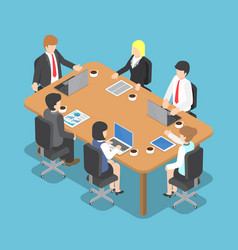 Isometric business people meeting vector