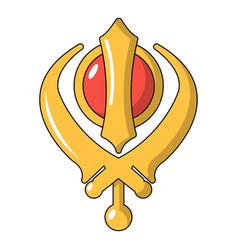 Khanda symbol sikhism religion icon cartoon style vector